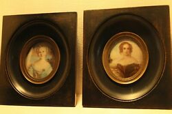 18th Century Antique Imperial French School Old Master Miniature Lady Portrait
