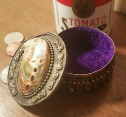 Abalone And Silver Sea Shell Ring Stash Coin Pill Box Vtg Polished Tropical Art