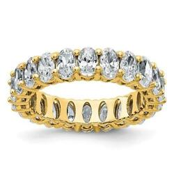14k Yellow Gold G-color Moissanite Oval Cut 5mm Wide 5ct Eternity Band Ring Sz 5