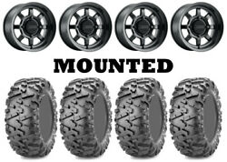 Kit 4 Maxxis Bighorn 2.0 Tires 26x9-14 On Method 410 Bead Grip Matte Black Can