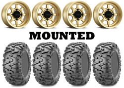 Kit 4 Maxxis Bighorn 2.0 Tires 26x9-14 On Method 410 Bead Grip Gold Wheels Can