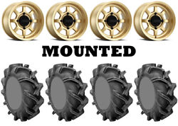 Kit 4 High Lifter Outlaw 3 Tires 29.5x9-14 On Method 410 Bead Grip Gold Fxt