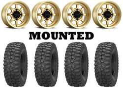 Kit 4 Sedona Rock-a-billy Tires 32x10-14 On Method 410 Bead Grip Gold Wheels Can