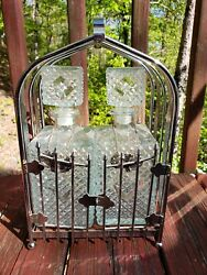 Vintage Diamond Point Clear Glass Set Decanter With Chrome Tantalus Carrier