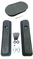 Chevy Black Aluminum Short Finned Valve Covers And 15 Finned Air Cleaner Kit Tbi