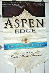Aspen Edge Large 2-sided Fabric Banner Coors Beer Sign Flawless Lkn Free Ship