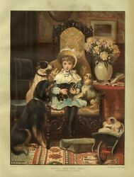 YOUNG GIRL JUVENILE AND ALL HER PETS DOGS CAT DOLLS WHEELBARROW FLOWERS VASE