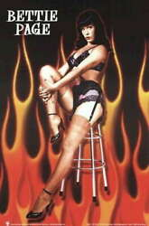 315633 Bettie Page Fire Pinup Betty Lingerie Wall Print Poster Ca