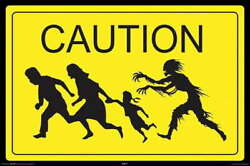 316695 Zombie Caution Crossing Hungry Zombies Sign Wall Print Poster Ca