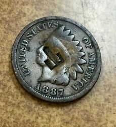 Indian Head Cent Penny 1887 Counterstamp T