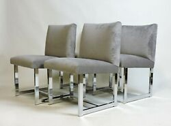 Four Adrian Pearsall Mid Century Modern Chrome And Velvet Dining Chairs