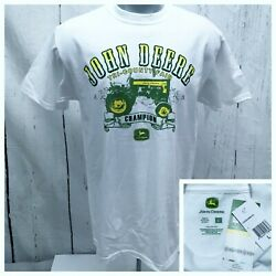 JOHN DEERE L LARGE NWT CREWNECK T TEE SHIRT WHITE SHORT SLEEVE TRI-COUNTY FAIR $13.99