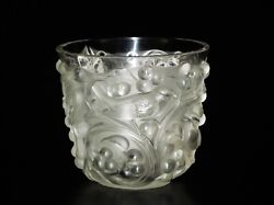 R.lalique France Avallon Frosted Birds In Grapes And Vines Motif Glass Vase.