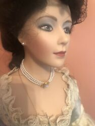 """Franklin Heirloom Doll 22"""" Gibson Girl Boudoir Doll With Stand And Coa All Papers"""