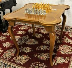 Vintage Made In Italy Wood Card Chess Checkers Board Game Table Italian
