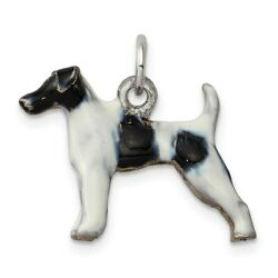 Sterling Silver Enameled Smooth Hair Fox Terrier Charm for Women 2.57g