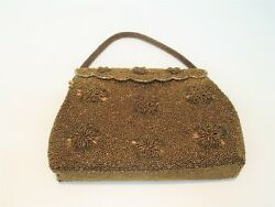 VINTAGE EVENING BAG GOLD AND COPPER BEADING RETRO ORIGINAL HINGED CLOSURE $49.95
