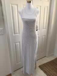 Nwt Marc New York Andrew Marc Gray And White Stripe Racer Back Maxi Dress A