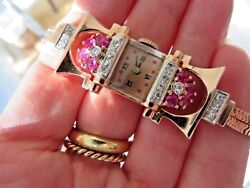 Antque 14 Rose Gold Diamond And Rubies Bracelet Style Ladies Watch 7 1/2