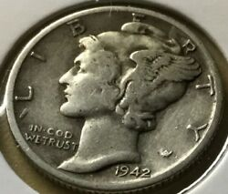 1942-d Winged Liberty Mercury Silver Dime 90 Silver About Fineandnbsp