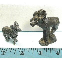 Lead Toy 2 Bighorn Sheep Figures Metal 2.5 And 1.6 Antique ʱ P1