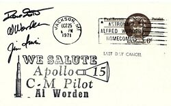 Apollo 15 Crew Signed Card From The Al Worden Collection Dave Scott Jim Irwin