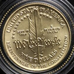 1987-w Gold Constitution Commemorative Nice Coin 5 Gold Piece Bu Free Shipping