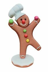 Gingerbread Man Chef 2 Christmas Cookie Display Prop Decor Statue