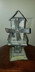 Antique Live German Steam Tin Toy Litho Windmill House Plank Bing Miniature