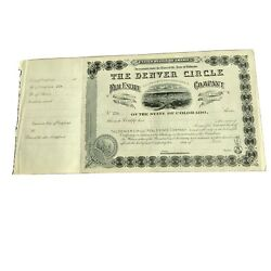 1880's The Denver Circle Real Estate Co. Stock Certificate Rare Unissued