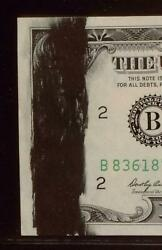 Thick Black Ink Smear Error   Left Side Face   1969 5 Lincoln Note   Small Face