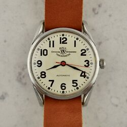 C.1970 Vintage Ball Official Rr Standard Trainmaster 2821 Automatic Steel Watch
