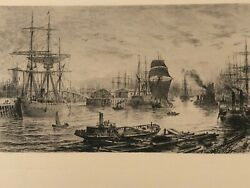 Etching Depicting A Harbor With Tall Ships And Steamboats 1800and039s Vintage