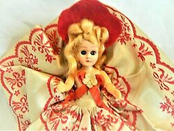 Vintage Valentine's Day Candy Box Sleepy Eye, Red Doll Hat/dress,approx.7 Tall