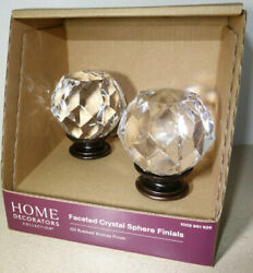 2 Home Decorators 1quot; 1 inch Faceted Crystal Sphere Ball Rod Finial Rubbed Bronze