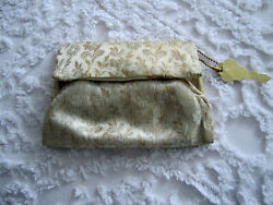 VINTAGE BROCADE CLUTCH PURSE EVENING BAG GOLD FLORAL $7.99