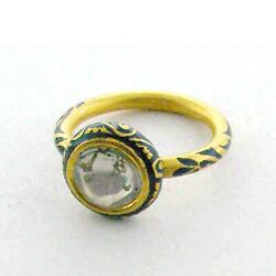 Victorian Style 0.8ct Diamond 22k Yellow Gold Indian Ethnic Ring Fashion Jewelry