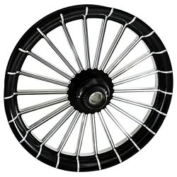 2000-2020 Harley Black Contrast 23 Inch Front Wheel With Floating Rotors Gambino