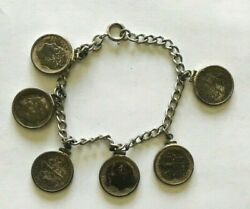 Sterling Silver 7 Bracelet With Six Intact Dimes 1952 1954 1956 1959 1961 1962