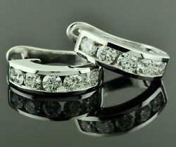 2.00ct 14k Solid White Gold Huggie Natural Diamond Earring Hoop Earring Made Usa