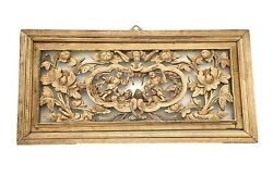 Antique Chinese Carved Wood Wall Hanging /panel 18.25 H By 33.5 W