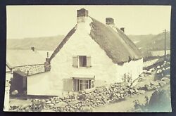 Rare Real Photo Postcard Close Up White Washed-thatched Cottage-sennen Cornwall