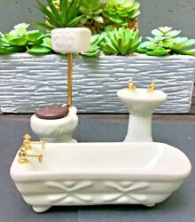 Beautiful ❤️ Vintage Dollhouse Bathroom Set - White Porcelain With Brass Faucets
