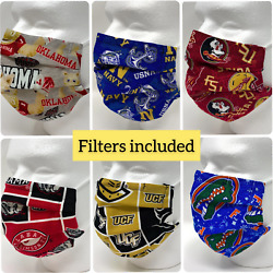 College Football Face Mask Filter Pocket Nose Wire Pleated - Filters Included $6.95