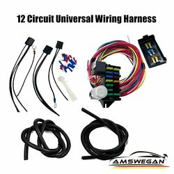 Universal 12 Circuit W/ 15 Fuse Taps Wiring Harness Hot Street Rods Classic Cars