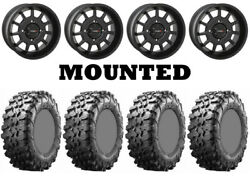 Kit 4 Maxxis Carnivore Tires 28x10-14 On System 3 St-5 Matte Black Wheels 550
