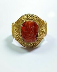 Chinese Antique Gold Vermeil Ming Dynasty Amber Carving Cuff Bracelet