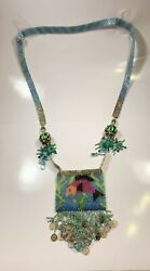Vintage Silver Enamel Ball Glass Beaded Medicine Pouch Necklace