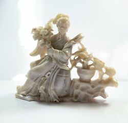 Chinese Antique Hand Carved Opal Woman Figurine Plants