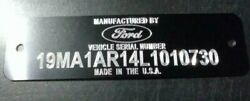 BLACK FORD CAR Serial Number VIN Plate Engraving included Free Shipping